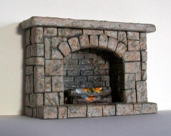 Tiny Stonework Fireplace (half inch dollhouse scale)