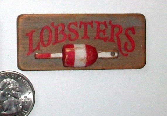 Miniature Lobsters Sign (one inch dollhouse scale)