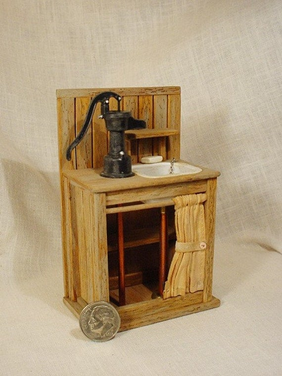 Rustic Sink : Miniature Rustic Sink w/ Pump (1 inch dollhouse scale)