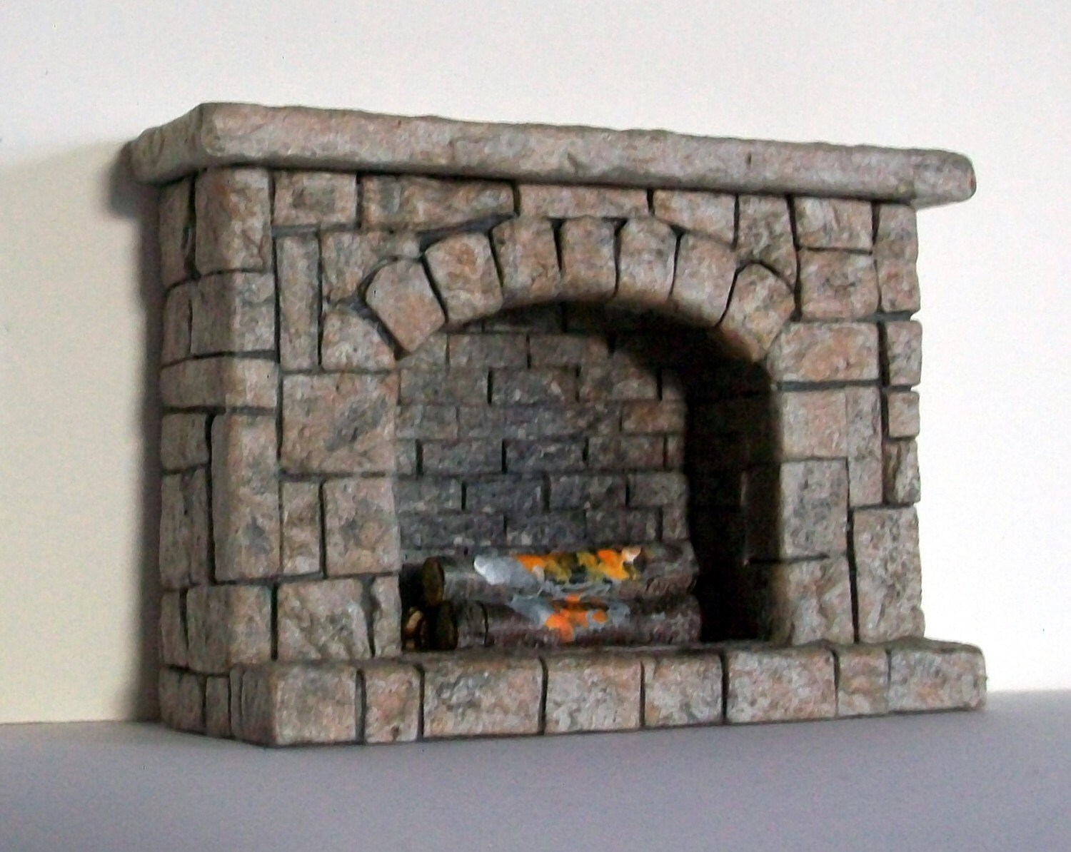 Tiny stonework fireplace half inch dollhouse scale for Fireplace half stone