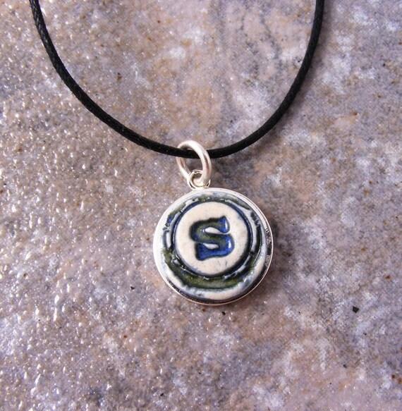 Little Porcelain Initial Necklace - Handmade
