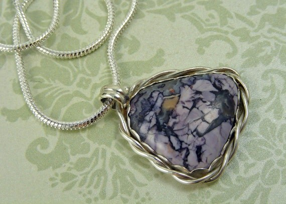 Purple Tiffany Stone Handformed Pendant Necklace in Sterling Silver