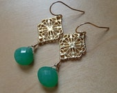 Lacey - (Green Chalcedony Edition) -- Gold Vermeil Links with Green Chalcedony Briolettes on 14k Gold Filled Earrings