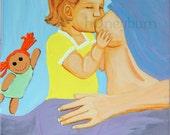Breastfeeding Toddler Girl - Original Acrylic Painting 11x14 canvas