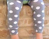 Snowballs - Gray White Dots Leg Warmers 6 Months Full Leg - 8 Years Knee High