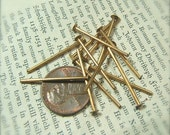 12 Vintage Brass Heavy Gauge Metal Head Pins by Bullseyebeads READY TO SHIP