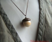 Glass Acorn Necklace in Vintage Antique Ivory by Bullseyebeads