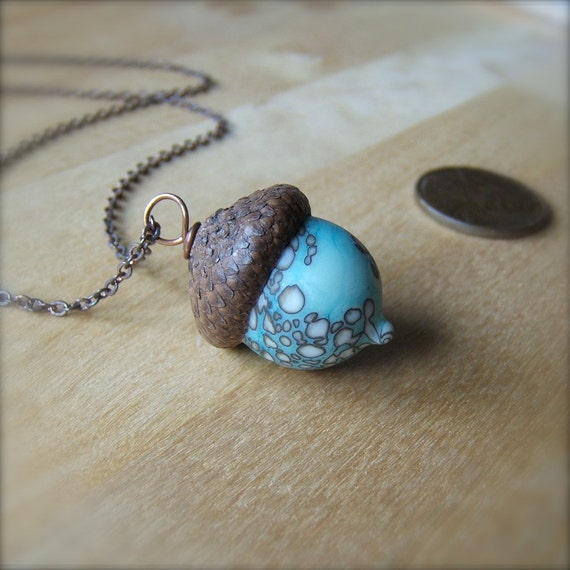 Glass Acorn Necklace - Dappled White over Turquoise by Bullseyebeads (kni)