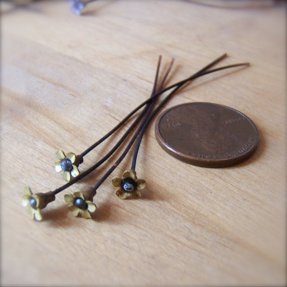 "4 Sweet Vintage Miniature Yellow Flower Enameled Copper Headpins - 2"" by Bullseyebeads"