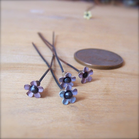 "4 Sweet Vintage Miniature Lilac Flower Enameled Copper Headpins - 2"" by Bullseyebeads"