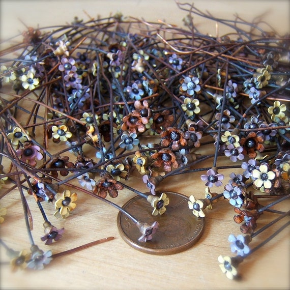 "12 Sweet Vintage Miniature Flower Enameled Copper Headpins - 2"" by Bullseyebeads"