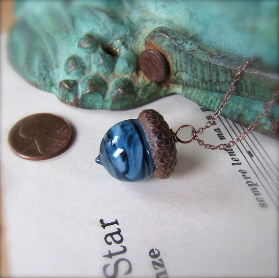 Glass Acorn Necklace - Midnight Indigo Blue by Bullseyebeads