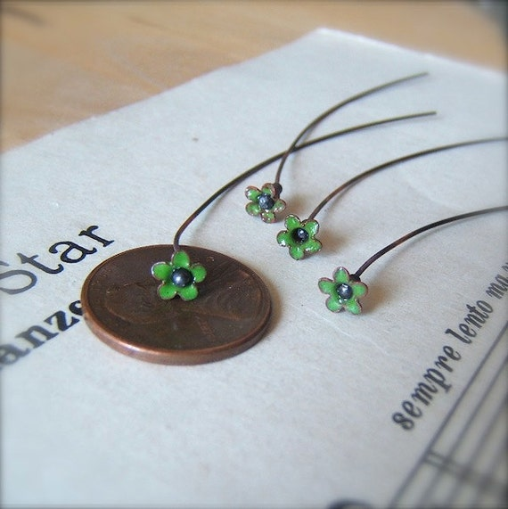 "4 Sweet Vintage Miniature Irish Green Flower Enameled Copper Headpins - 2"" by Bullseyebeads"