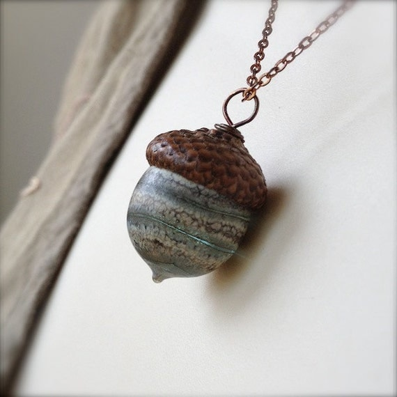 Glass Acorn Necklace - Silvered Ivory Spiral Grey by Bullseyebeads