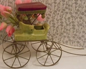 Reserved for Anna-Clearance Collectible Metlox Pottery Poppytrail Nostalgia Surrey Carriage Buggy 624Two-Seater Green Red Top Green Pom Poms