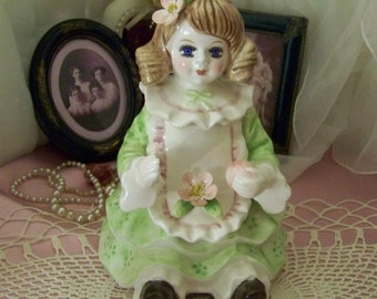 SALE Vintage Ceramic Victorian Style Dolly Music Box -Schmid