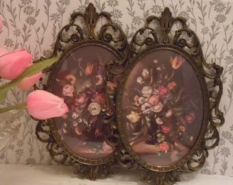 SALE Two Vintage Victorian Floral Prints in Brass/Bronze Frames and Bubble Glass - Made in Italy