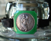 Antique French Vintage Sterling Silver and Green Guilloche Enamel Catholic Religious Saint Christopher Medal Bracelet