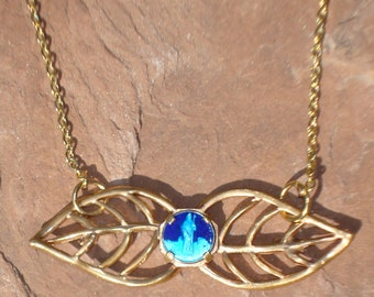 OOAK Antique French Vintage Leaf Saint Odile Blue Enamel Guilloche and Gold Fix Religious Medal Necklace