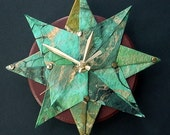 Starburst Origami Wall Clock - Green/Blue
