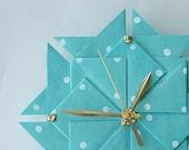 Aqua Polka Dot Origami Clock