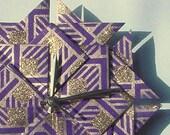 Origami 50th Anniversary Gift Clock-Purple/Gold