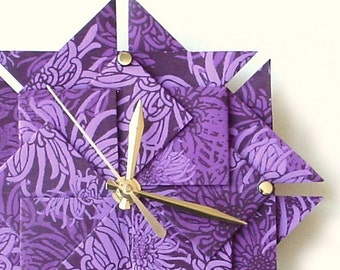 Purple Floral Living Room Wall Clock - Large Origami - Best Gift Idea
