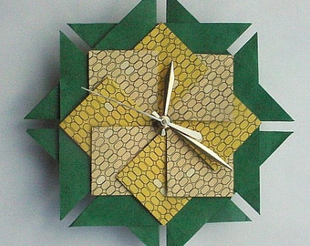 Kitchen Clock, Origami Clock, Fresh Corn-Large
