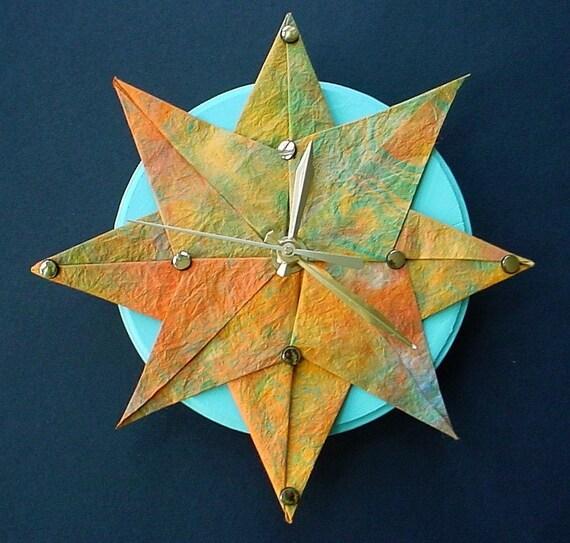 starburst origami clocklight orange by giftedpapers on etsy