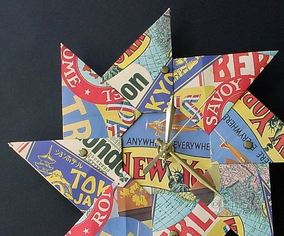 Cool Vintage Travel Poster Clock - Origami Style - Large