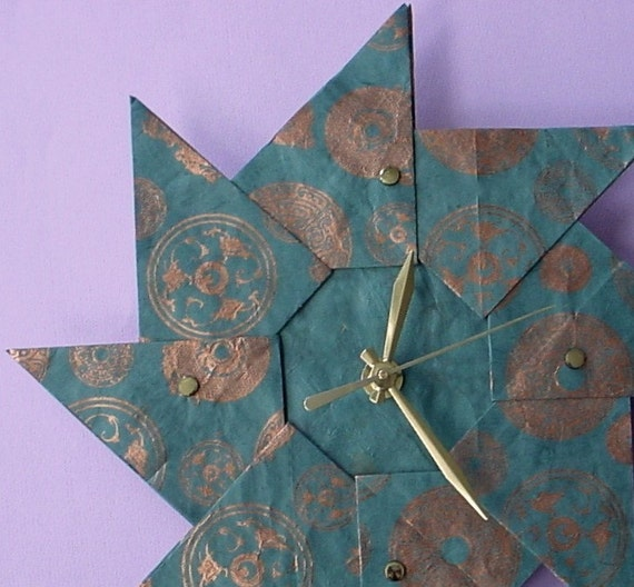 Teal Spiral Origami Clock-Large-The Perfect Gift