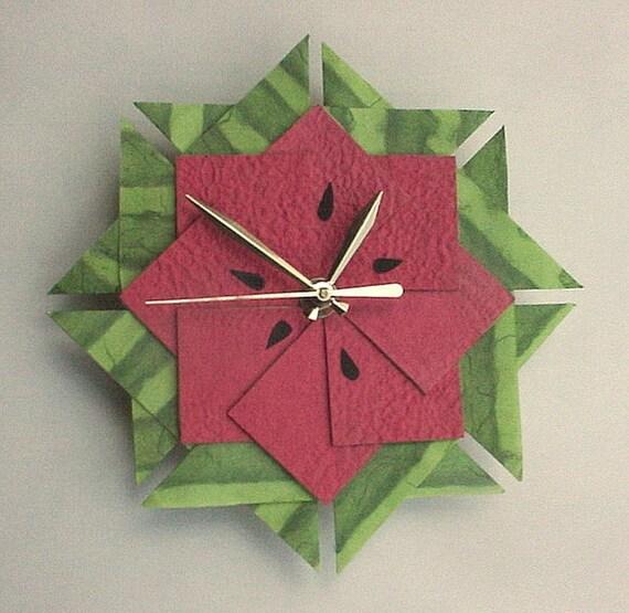 Watermelon Kitchen Clock, Origami Clock-Large