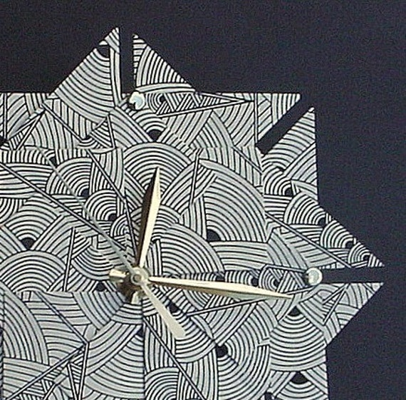 Art Deco Origami Clock-Large