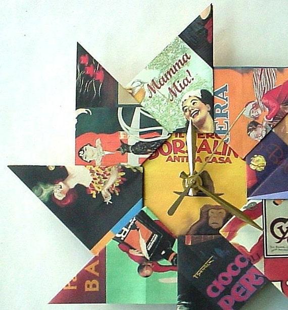 Vintage Euro Poster Origami Clock-Large