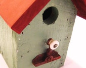 Whimsical Reclaimed Wood Bird House with Vintage Window Latch Perch by Barneche