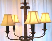 Antique Brass Chandelier with Five Ivory Lamp Shades by Barneche