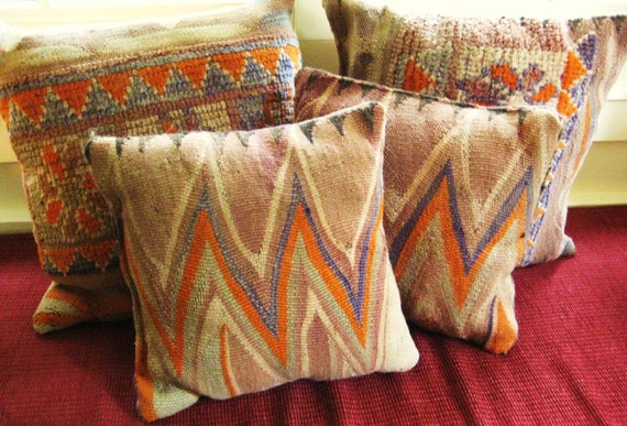 SALE Handwoven Antique Rug Pillows, Set of 4 by Stephanie Barnes / Barneche