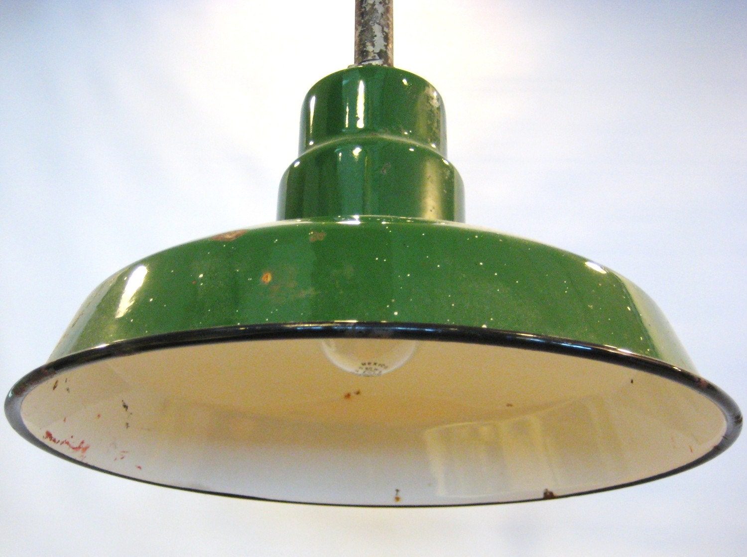 antique green enamel metal hanging light fixture by barneche