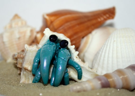 Teal Hermit Crab Polymer Clay Sculpture with Real Seashell