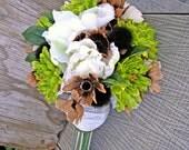 Earthy Woodland Wedding Bouquet Green Brown Bridal Bouquet