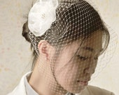 Bridal birdcage veil with flower white bridal veil short veil bridal accessories white birdcage veil bride half veil small veil bird cage
