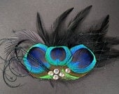 Gothic mini veil black feather headpieces peacock eye dark birdcage goth bird cage veil feathers hair pieces
