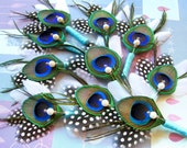 10 peacock boutineers feathers tiffany wedding etsy boutonnieres flower set polka dots black white ready-to-ship bouts