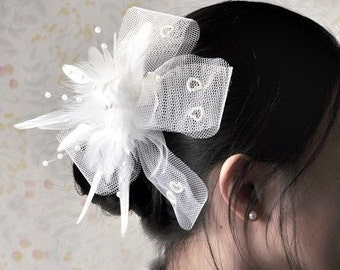 White large hair bows boutique hairbows flowergirl bridal fascinator photo props