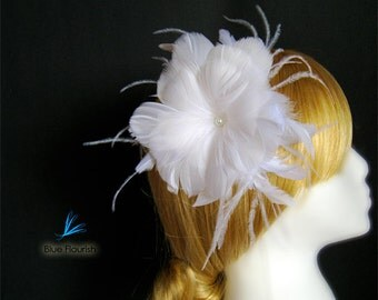 Large fascinator hair headpieces white head piece bridal feather flower