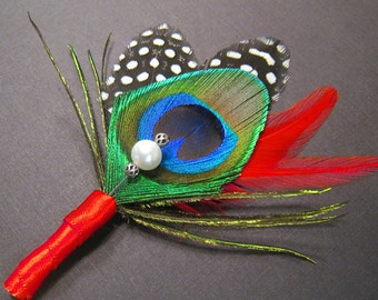 Red wedding boutineer peacock wedding boutonniere groomsmen lapel Chinese wedding red men lapel pins goth wedding bouteneer Asian wedding