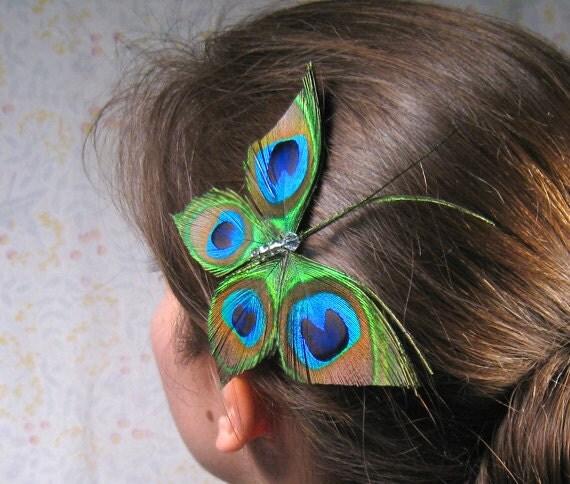 Peacock hair accessory, feather head piece, fascinator