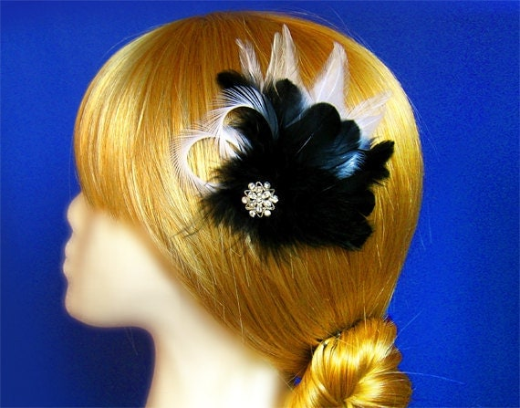 Black hair clip hair accessories black feather hair clip black accessories noir prom accessories black and white feather hairclip bridesmaid