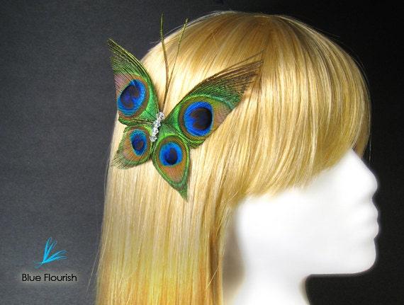 Hair clips peacock wedding feather butterflies Swarovski crystals bridesmaids prom fascinator