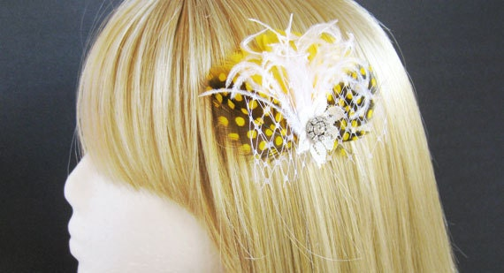 Yellow hair pieces bridal headpieces yellow hair clip bridesmaid hairpiece yellow fascinator yellow feather